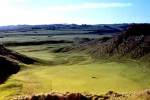 Enniscrone Golf Club - The first green looking bacj